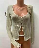 ERMANO SCERVINO size IT 40 EU 36 UK 6 40%ALPACA Knitted Cardigan Green Flower