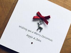 Personalised Handmade Christmas Cards - Reindeer Charm 13.5cm X 13.5cm