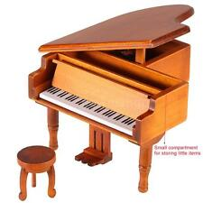 Windup Wooden Piano Musical Box Castle in the  Melody for Children Girls R3I4
