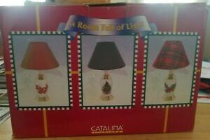 3 New In Box Christmas Design Table Lamps w/Decorative Shades & Switch on Cord.