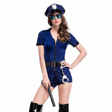 Women fancey Sexy Lingerie Police Cospaly Costume Cop Uniform Blue Halloween