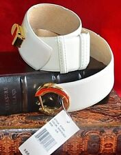 Women's Ellen Tracy White / Gold Italian Leather Belt Size O/S ET 655