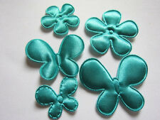 100 Satin Butterfly & Flower Applique Mix-Teal AB033-1