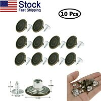 10x Clothes Buttons 1.6cm Buckle Accessories with Nails Kit for Jeans Coat Bag