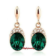 Rose Gold Fill Emerald Green Oval Drop Earring Made With Swarovski Crystal XE82
