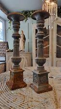 More details for pair cast iron candlesticks vintage antique