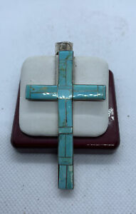 Large Vintage Sterling Silver And Turquoise Inlay Zuni Made Cross Pendant