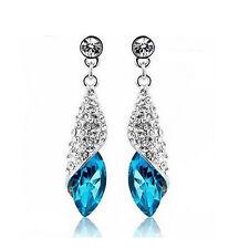 Certificated 925 sterling silver blue Crystal drop earrings  SE004
