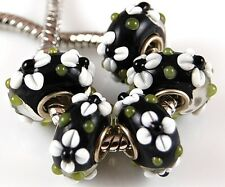 Lampwork Large Hole Bead White Flower Handmade Loose European Bracelet Charm