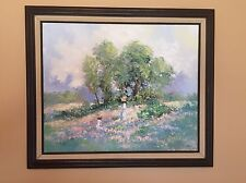 "20in x 24in ORIGINAL OIL ON CANVAS ""SPRING TIME"" WITH WOOD FRAME."
