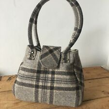 Grey Cream Check Annbags Handbag Grab Bag Vintage Look