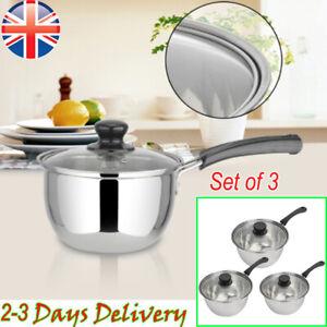 Set of 3 Stainless Steel Non Stick Saucepans Cookware Cooking Pots Pan & Lids UK