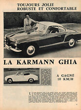 1960 ARTICLE DE PRESSE SUR 4 PAGES AUTOMOBILE KARMANN GHIA