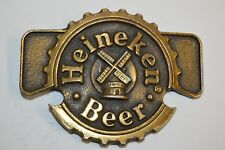 Vintage HEINEKEN Beer Windmill Logo Brass Tone Belt Buckle New York Rare