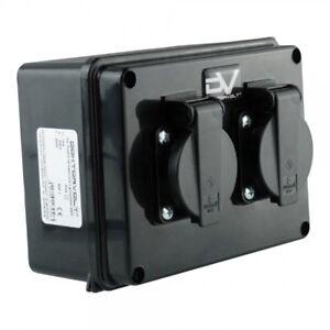 Wall Socket 2x230V IP54 Ground Distribution Board Power Box M-L 9573