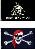 3X5 GADSDEN DTOM AND RED HAT PIRATE FLAG FLAGS COMBO SET (2 FLAGS)