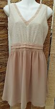 DOROTHY PERKINS LUXE BNWOT Nude & Cream Sequined Dress Size 10