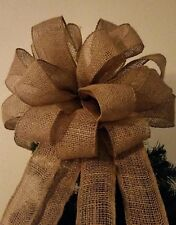 """15"""" with 4 -7 ' Streamers Christmas Tree Topper Bow Burlap  Wreath"""
