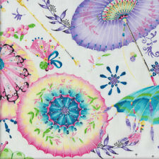 Beautiful Umbrellas and Fans on White Fanfare Quilting Fabric FQ or Metre *New*