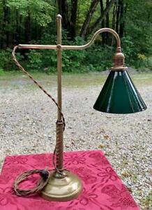 ANTIQUE FARIES BRASS STUDENT LAMP EMERALITE SHADE EDISON MICA SOCKET EDISON BULB