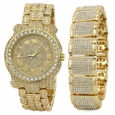 Men's 14k Gold PT Iced Hip Hop Fashion Fully Cz Watch & Bracelet Dome Wrist Link