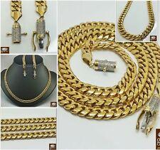 New 10k Yellow 21 Inches Men's Gold Miami Chain With Custom Diamond Box Lock.