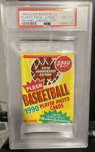 1990 Fleer Basketball Plastic Pack, Michael Jordan on-top, PSA 8