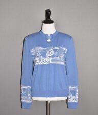 ST. JOHN COLLECTION $395 Blue Zip Cardigan Seashell / Ocean Scene Size 6