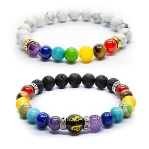 2x Chakra Bracelet. Crystal Healing Beads Jewellery. Natural stones Reiki gift