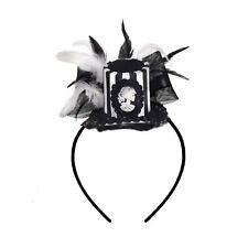 Adults Gothic Skull Skeleton Top Hat Fascinator Headband Halloween Accessory
