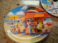 """2  beach scene plates 8"""" x 7"""" by Sheri Erickson each comes with wall hangers."""