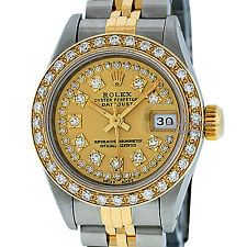 ROLEX LADIES CHAMPAGNE DIAMOND DIAL DATEJUST SS & 18K YELLOW GOLD DIAMOND WATCH
