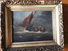 OIL on BOARD Sailboat Storm WAVES PAINTING FRAMED ESTATE Signed J. Common 13X16