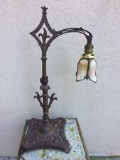 NICE Antiques French Revival Fleur de Lie Slag Glass Shade Lamp NOLA Saints Fan?