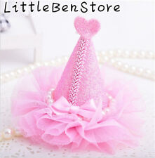 Hot Bling Pearl Lace Birthday Hat Girls Child Hairpin Hair dress Kids Head Clip
