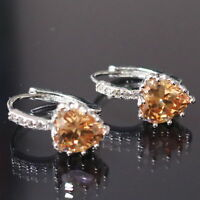 Sparkling Yellow Citrine Heart Earring Stud Women Jewelry 14K White Gold Plated