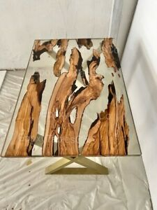 """47""""X30"""" Olive Wood Clear Epoxy Resin Table for Dining Room"""