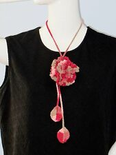 New Handmade Crochet Red Carnation Flower Scarf Necklace Lariat
