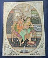 Old Mughal Harem Romance Miniature Painting Vintage India Art 02
