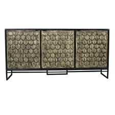 "69"" LSideboard Carved Four Door Solid Wood Cabinetry Modern Black Iron Base"