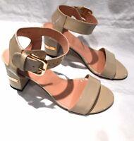Stuart Weitzman Patent Cream Block Heel Sandal Size USA 6.5