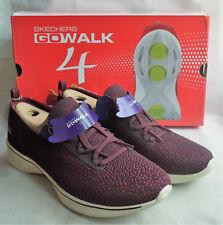 Skechers Go Walk 4 Reward Burgundy Purple Pink Lace Up Trainers Ladies Box Sz 5