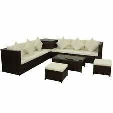 Outdoor 8PC Rattan Furniture Sectional Wicker Patio Sofa Couch w/ Storage Brown