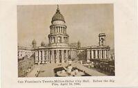 SAN FRANCISCO CA -Twenty Million Dollar City Hall Before the Big 1906 Fire - udb