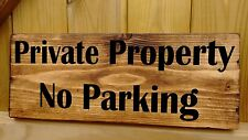 No Parking Private Property Plaque Signs Solid Wood Security Warning Residential