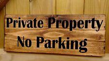 No hay aparcamiento privado propiedad Placa signos de madera sólida de advertencia de seguridad residentil