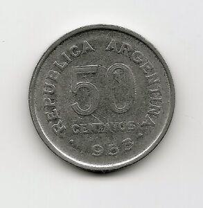 World Coins - Argentina 50 Centavos 1953 Coin KM# 49