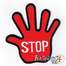 RED HAND STOP BREAK HALT PAUSE DISCONTINUE APPLIQUE EMBROIDERED IRON ON PATCH