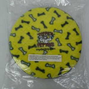 """Dog Frisbee Toy Yellow Bones Tuff Scale 7 Floats Squeaker - 9.5"""" Throwing Disc"""