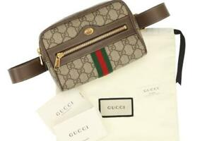 NEW GUCCI OPHIDIA GG SUPREME WEB DOUBLE G LOGO BELT BAG SMALL 85/34